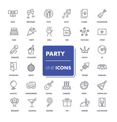 Line icons set party vector
