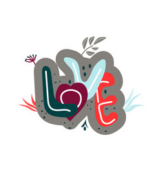 love drawn letters with fashionable colors vector image
