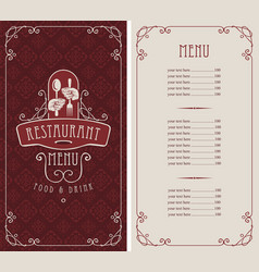 menu for restaurant with spoon and fork in hands vector image