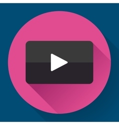 Modern flat video player icon on pink vector image
