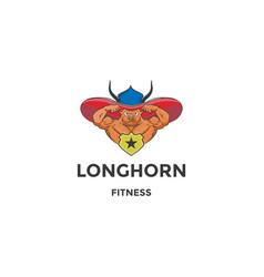 Muscular angus cow bull longhorn mascot character vector