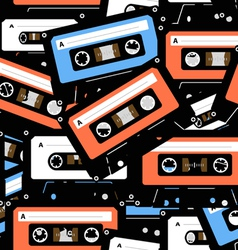 Music recordable cassettes seamless background vector