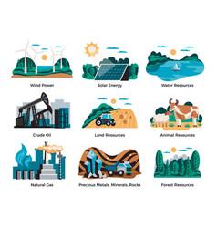 Natural environmental resources set vector