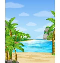 Nature scene with ocean at daytime vector