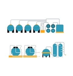 Oil gas storing in cargo service terminal flat vector