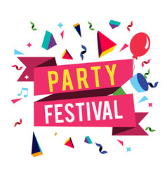 party festival pink ribbon balloon background vect vector image