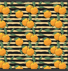pattern of oranges on striped background vector image