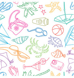 pattern of symbols of beach holiday vector image