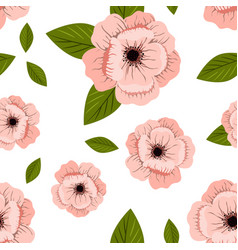 pink flowers print with green leaves vector image