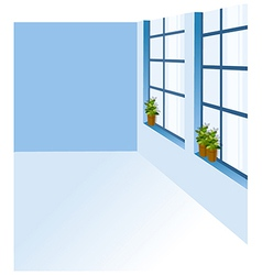Potted plant window sill vector