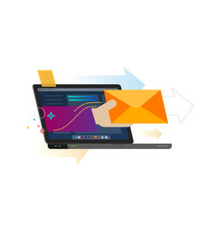 Receiving message from laptop screen vector
