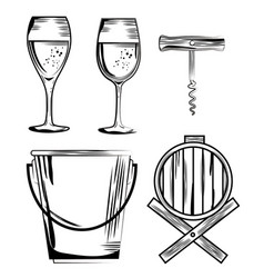 Red wine set icons vector