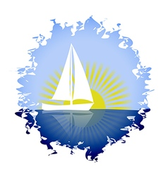 sailing yacht in the sun vector image
