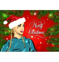 Santa girl portrait for your design vector image
