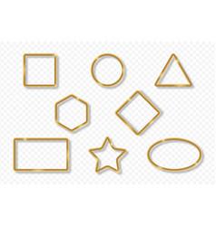 set gold frames on transparent background vector image