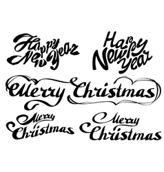 Set Happy new year text Merry Christmas vector image