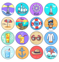 Set icons depicting multiple marine items vector