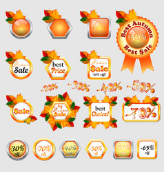 Set of autumn sale stickers vector