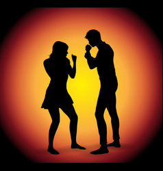 Silhouette of fighting couple vector