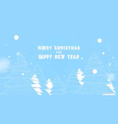 simple christmas tree in blue and white colors vector image