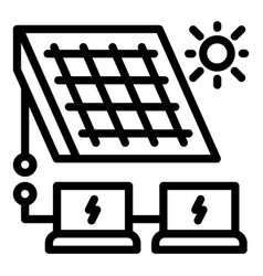 Solar panel energy solution icon outline style vector