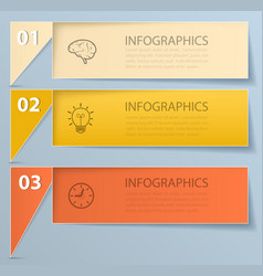 Step-paper banners with icons vector