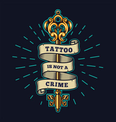 Tattoo salon colorful emblem vector