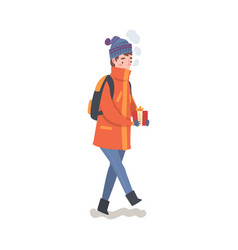 teenage boy with backpack in winter clothing vector image