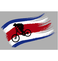 the contour of the cyclist on the flag of thailand vector image