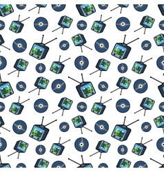 TV Set and Vinyl Seamless Pattern vector image