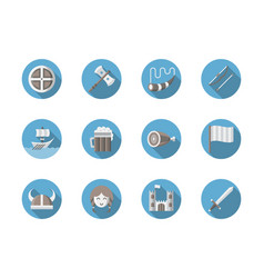 viking set flat round icons vector image