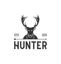 vintage hunter logo design inspiration in black vector image