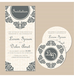 wedding vintage cards set vector image