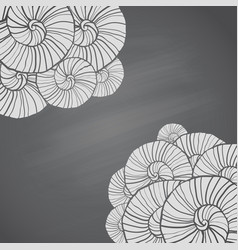 With seashells pattern on chalkboard vector
