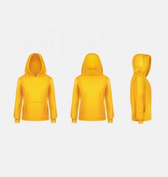 yellow hoodie sweatshirt 3d realistic vector image