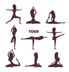 Yoga exercises and meditation female silhouettes vector