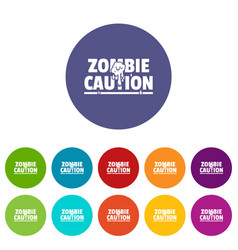 Zombie horror icons set color vector