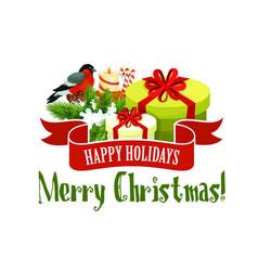christmas tree and gift icon xmas holiday design vector image