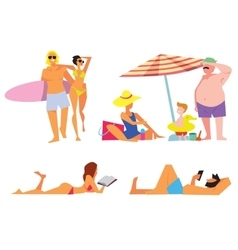 People on beach isolated set vector image