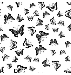 Seamless pattern with silhouettes of butterflies vector image