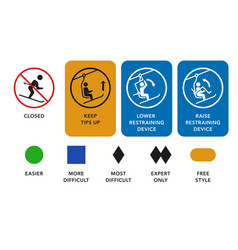 ski lift manuals trail difficulty levels signs vector image