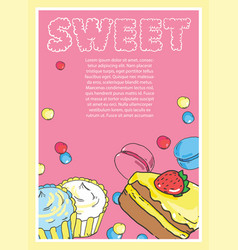 Flyer on the theme of food and sweets on pink vector
