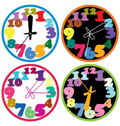 set of a colorful clocks vector image vector image