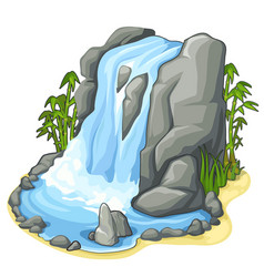 beautiful stream of waterfall from cliff vector image