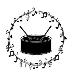 border musical notes with drump instrument musical vector image vector image