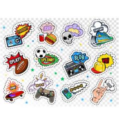 comic boys stickers set vector image vector image