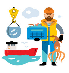 sea port unloading seafood flat style vector image vector image