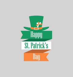 stpatrick s day ribbon with text and leprechaun vector image vector image