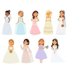 Wedding bride girl characters vector image vector image