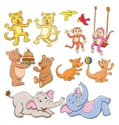 animal cartoon set vector image vector image